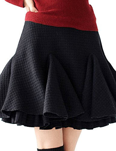 Pleat Hem Skirt (Artka Women'S Plaid Bilayered Pleat Hem Thicken Woolen Short Skirt Size M)