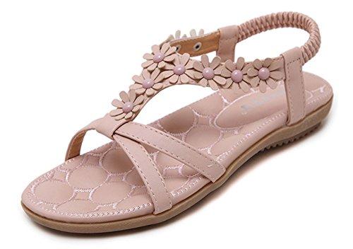 Minetom Damen Sommer Mode Flach Sandalen Boho Stil Süß Blume Strand Offene Sandals Schuhe Strandschuhe Rutschfest Sandale Rosa