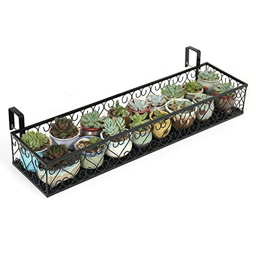 Fitlyiee Balcony Flower Pot Stand Rack Patio Railing Shelf Plant Pots Holder Windows Decorate (S, Black)