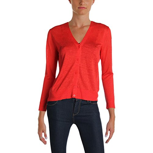 Cardigan Cashmere Lauren - LAUREN RALPH LAUREN Womens Eyelet Back Button Up Cardigan Sweater Red M