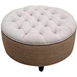 """Tufted Round Ottoman, 30"""" Linen and Burlap"""