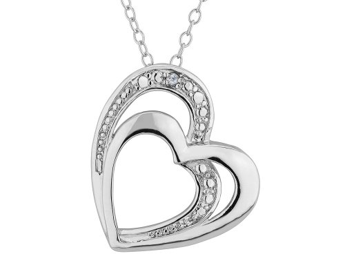 Double Heart Pendant Necklace with Diamond Accent in Sterling Silver with Chain ()