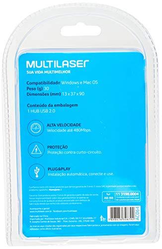 Multilaser Slim 2.0 AC064 - Hub 4 Portas, Preto