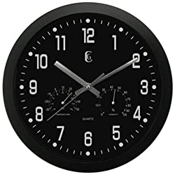 Geneva 12-Inch Plastic Wall Clock with Temperature and Humidity Gauges, Black