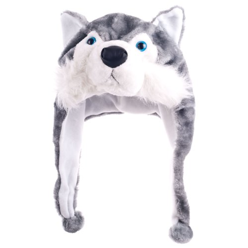 NYKKOLA Plush Faux Fur Animal Critter Hat Cap Soft Warm Winter Headwear Plush Wolf Hat, One -
