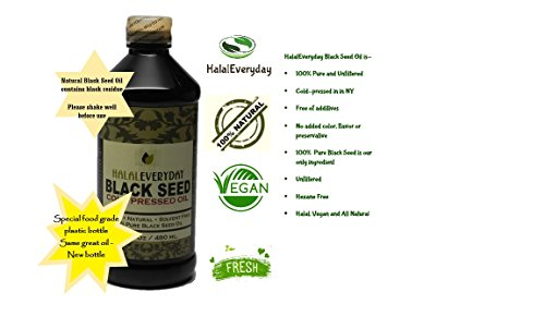 PURE BLACK SEED OIL - 16 OZ - Unfiltered, Undiluted, Raw, 100% Pure and Cold Pressed Black Seed - NON-GMO and Vegan - Nigella Sativa- Very Dark and Potent