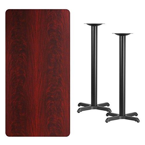 BOWERY HILL 30'' x 60'' Restarant Bar Table in Black and Mahogany