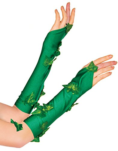 Poison Halloween Ivy Costume (Rubie's Women's Dc Comics Poison Ivy Glovelette, Green, One)