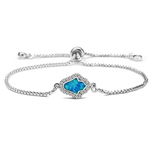 Karseer Created Opal Hamsa Hand Charm Chain Bracelet with Adjustable Sliding Metal Knot & Cubic Zirconia Accessory, Beautiful Jewelry Amulet Gift for Girls or Women, White Gold Tone