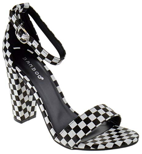 (BAMBOO Frenzy 45S Womens Open Toe Chunky Heel Sandals Sandals (6.5, Black White Checker))