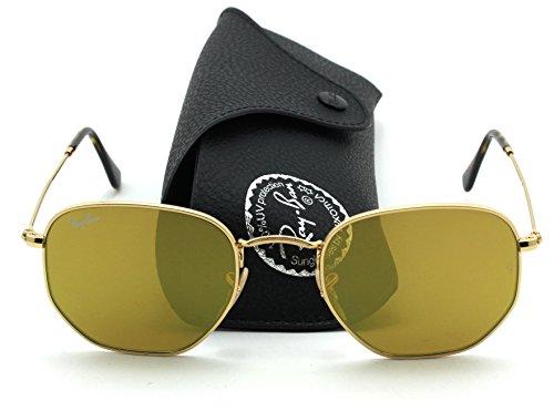 Ray-Ban RB3548N HEXAGONAL FLAT LENSES Mirrored Sunglasses (Gold Frame/Yellow Flash Lens 001/93, - Ray Lenses Yellow Ban