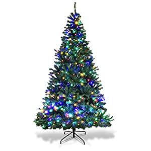 Goplus Pre-Lit Artificial Christmas Tree Auto-Spread/Close up Branches 11 Flash Modes with Multicolored LED Lights & Metal Stand 89
