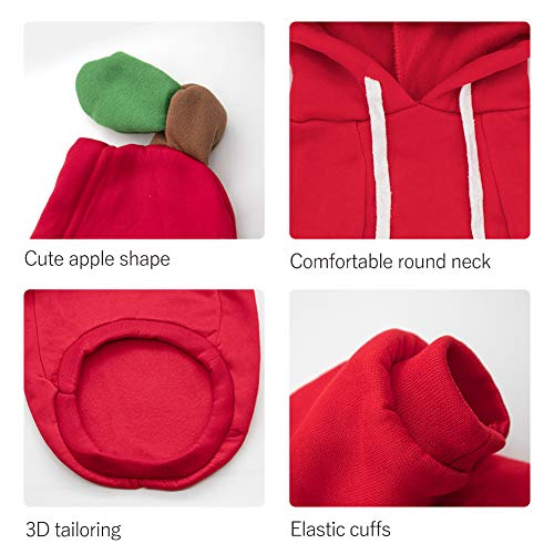 Beauty Cottage Dog Coat Add Velvet Pet Winter Hoodie,Sweater,Cute and Warm Fruit Costume for Small Medium Dogs Cats, red