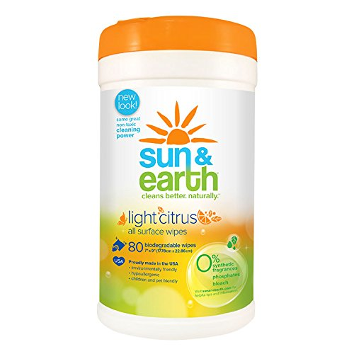 SUN & EARTH Compostable Cleaning Wipes - Natural All-Purpose Multi Surface Wipes - Light Citrus Scent - 80 Count