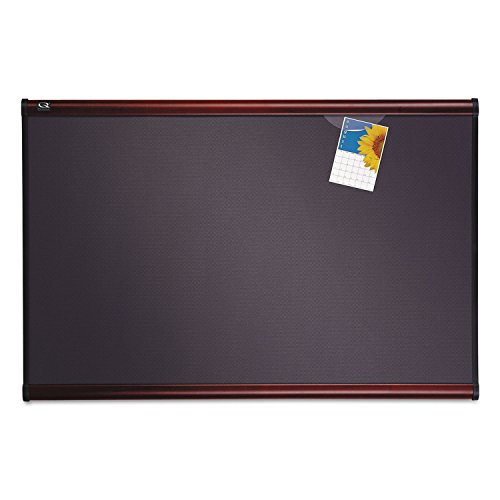 Tight Weave Fabric Board - Quartet B447M Tight Weave Fabric Board, 6'x4', Mahogany Frame