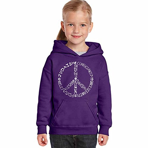Faith Kids Sweatshirt - Los Angeles Pop Art Girl's Word Art Hooded Sweatshirt - Different Faiths peace sign- LA Pop Art