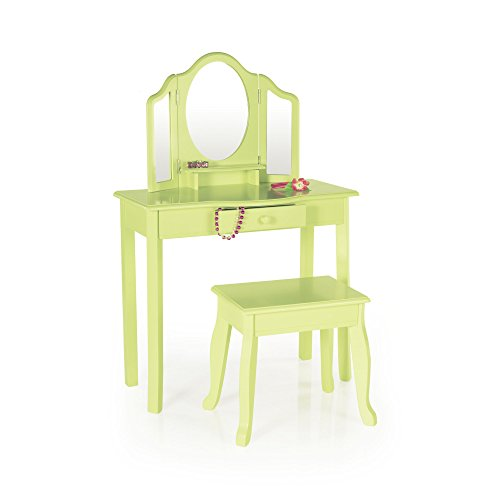 Guidecraft Vanity Table and Stool Set with Mirror and Make-Up Drawer - Children's Furniture - Light Green by Guidecraft