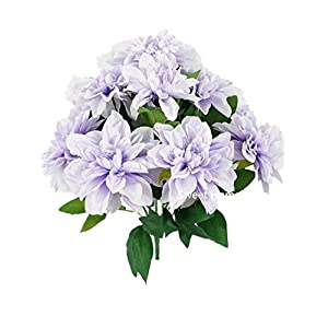 Sweet Home Deco 18'' Supper Soft Silk Dahlia Artificial Flower Bouquet for Spring Summer Home/Wedding 10 Big Flower Heads (Lavender) 37