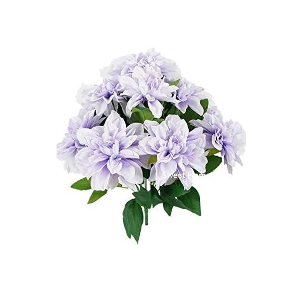 "Sweet Home Deco 18"" Supper Soft Silk Dahlia Artificial Flower Bouquet for Spring Summer Home/Wedding 10 Big Flower Heads (Lavender)"