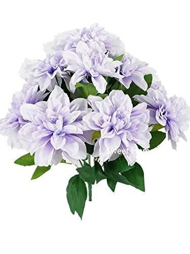 Sweet Home Deco 18'' Supper Soft Silk Dahlia Artificial Flower Bouquet for Spring Summer Home/Wedding 10 Big Flower Heads (Lavender)