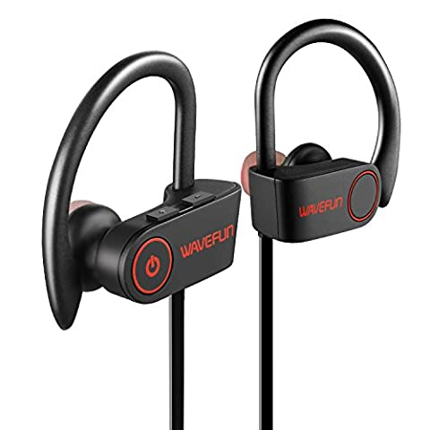 Bluetooth Headphones Wavefun Wireless Sports Earphones with Mic, IPX7 Waterproof HD Stereo Sweatproof Earbuds, Noise Cancelling Headset for Running Workout Gym - (Bluetooth Headset With Ear Buds)