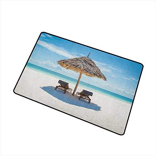 Wang Hai Chuan Seaside Universal Door mat Wooden Sun Loungers Facing Eastern Ocean Under a Thatched Umbrella in Zanzibar Door mat Floor Decoration W29.5 x L39.4 Inch Turquoise Cream (Cast Sun Iron Loungers)