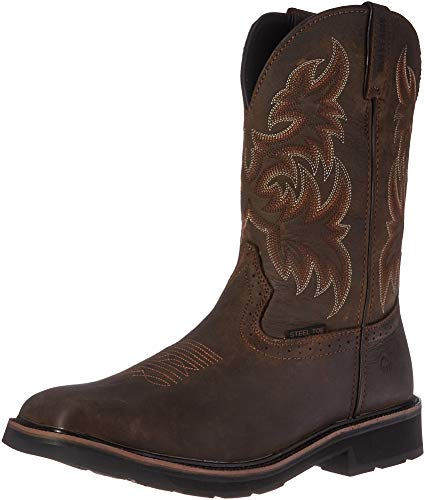 Wolverine Men's Rancher 10' Square Steel Toe Work Boot, Dark Brown/Rust, 11 M US