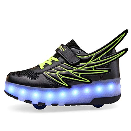 Ehauuo Girls Roller Shoes Kids Sparkling Wheels Shoes Boys Light up Roller Skates Sneakers Rechargeable Flashing Sneakers for Gift (3 M US Little Kid, A-Black) ()