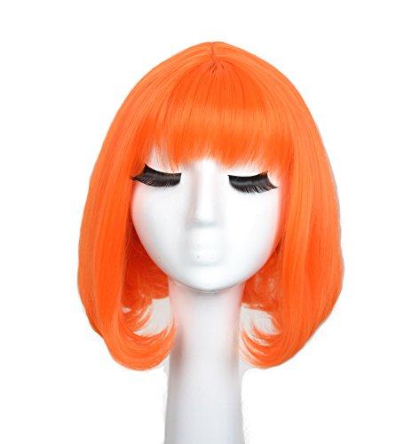 [Yuehong Orange BOB Wig Fashion Women Cosplay Party Cos Wig] (Leeloo Cosplay Costume)