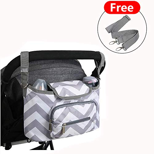 - Stroller Organizer Bag -Travel Bag with Shoulder Strap,Insulated Deep Cup Holders, Instant Access Wipe Pocket, Universal Strap Fit, Large Storage Space for Diapers & Phone