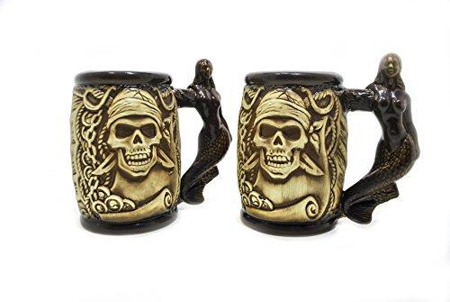 Set of 4 Ceramic Beer Steins with Pirate Skull, Anchor and Mermaid, Beer Tankard, Pottery Beer Mug, Groomsmen Gift, ()