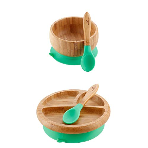 Avanchy – Baby Feeding Plate + Bowl and 2 Spoons Set, Divided Bamboo Plate with Spill Proof, Stay Put Suction Ring, 7″ × 2″ Plate Size – Green