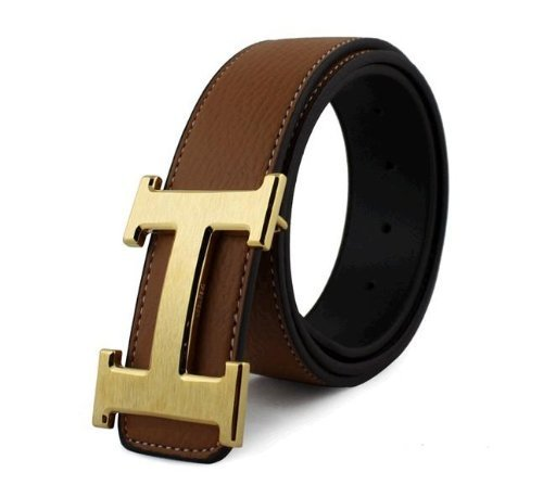 Dinamit Women's H Reversible Leather Belt With Removable Buckle Brown with Gold ()