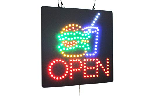 Open with a Hamburger Sign, Deli Sign, Open Sign, Store Sign, Business Sign, Windows Sign for Fastfood Restaurant