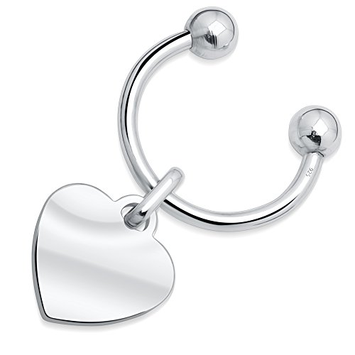 Sterling Silver .925 Heart Horseshoe Screwball Keychain With Single-Side Easy-Open Key Holder for Women, Made in Italy, Hand Polished, Designer, (Sterling Silver Screwball Key Ring)