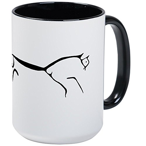(CafePress Uffington Horse-Black & White Large Mug Coffee Mug, Large 15 oz. White Coffee Cup)
