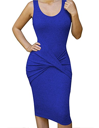 (Allegrace Womens Sleeveless Sexy Bodycon Midi Bandage Party Evening Dresses Blue)