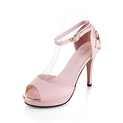 Die neuen weißen Blüten seitlichen Luft Sandalen High Heels Schuhe fein mit Höhe mit Fischkopf Frauen Schuhe , XL , 35