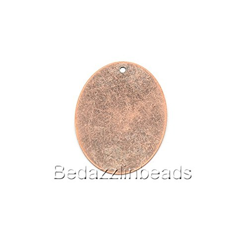 10 Big 40mm Flat Oval Engravable Stamping Blanks With Hole for Pendants & Charms (Antique Copper) (Brass Antique Stamping)