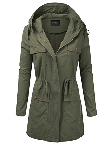 DRESSIS Women's Woven Hooded Cotton Utility Jacket with Drawstring Waist Olive S