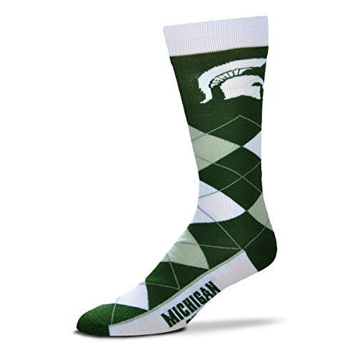 (For Bare Feet NCAA Argyle Lineup Unisex Crew Dress Socks-One Size Fits Most-Michigan State Spartans)