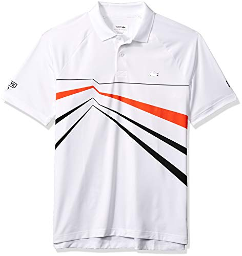 Lacoste Men's Sport DJOVOKIC Short Sleeve Ultra Dry GEO Print Graphic Polo, White/Black/Mexico red, Large