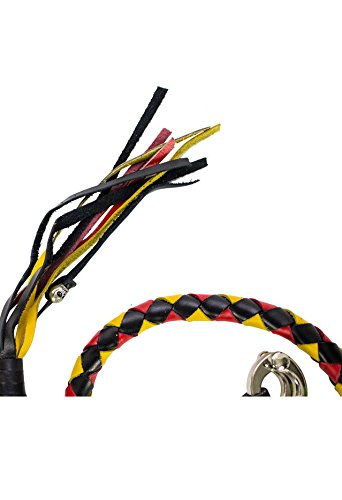 Dealer BIKER BLACK YELLOW RED 40'' LEATHER GET BACK WHIP MOTORCYCLE WHIP OLD SCHOOL by Dealer (Image #2)