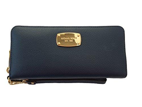 Michael Kors Navy Blue Leather Jet Set Travel Continental Zip Around Wallet Wristlet by michael kors