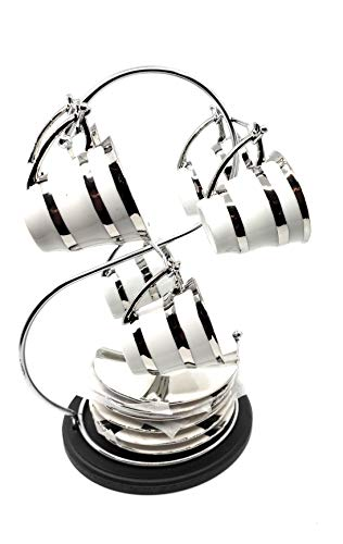 13 Pc Modern Tea Coffee Set with Stainless Steel Rack, Espresso Cups and Saucers Metallic Silver ()