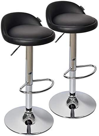 Fullwatt 2 PCS Adjustable Stool PU Leather Adjustable Barstools Chairs Adjustable Swivel Bar Stools with Back Set of 2 Black