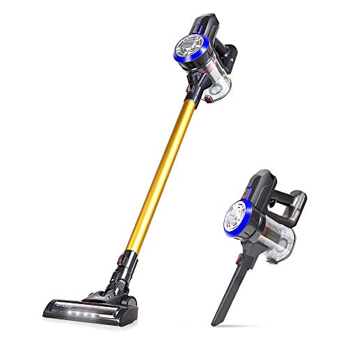 OUNUO Stick Vacuum Cleaner, Cordless 4 in 1 Lightweight Vacuums, 9Kpa Powerful Handheld Vacuum with Detachable Lithium Battery, LED Light, Wall-Mount-Sliver