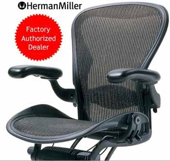 Herman Miller Classic Aeron Task Chair: Highly Adj w/Lumbar Pad - Tilit Limiter w/Seat Angle Adj - Fully Adj Vinyl Arms - Carpet Casters