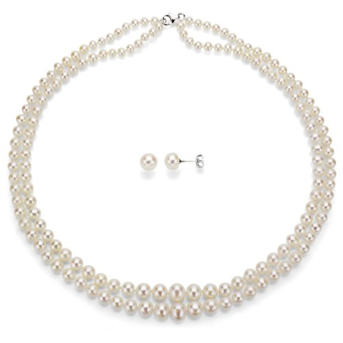Sterling Silver Graduated 4-8.5mm 2-rows White Freshwater Cultured Pearl Necklace and Stud Earrings