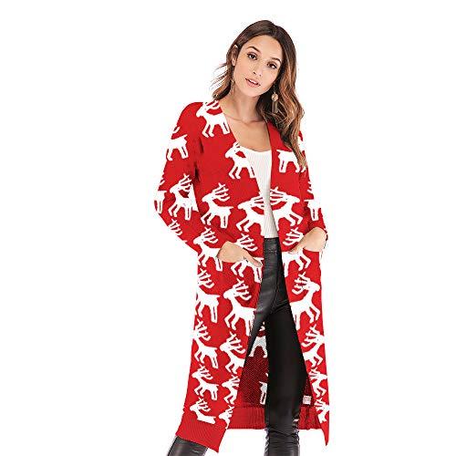 Carprinass Women's Reindeer Printed Christmas Long Cardigans Ugly Sweater Red -